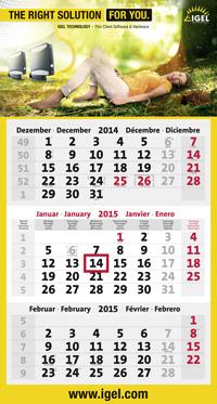 3-Monatskalender planer mit Rand mit Igel Beispielmotiv in grau