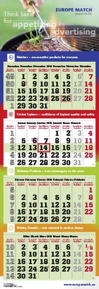 4-Monatskalender super 1 quadro mit Europe Match Beispielmotiv in grün