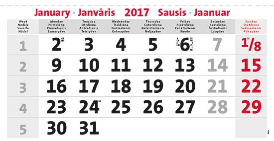 terminic Mehrmonatskalender Super Baltic Januar 2016