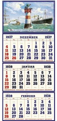 Der weltweit erste 3-Monatskalender, bereits 1937 konzipiert und umgesetzt für die Unterweser Reederei AG Bremen.
