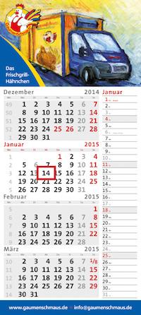 """4-Monatskalender dispo quadro 4plus mit """"Das Frischgrill-Hähnchen"""" Beispielmotiv in grau"""