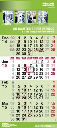 4-Monatskalender dispo quadro mit Murrelektronik Beispielmotiv in grün