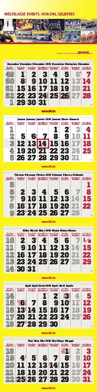 6-Monatskalender super 1 magnum mit DHL Motivbeispiel in grau