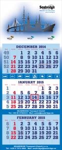 3-Monatskalender super 2 mit Seabridge Beispielmotiv in blau