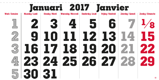 terminic Mehrmonatskalender Super Belgien Januar 2015