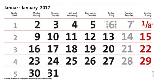terminic Mehrmonatskalender Super Quintus und Super SevenUp / 2-sprachig: Monat Januar
