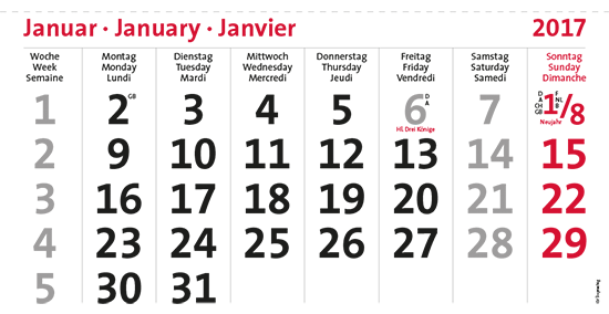 terminic Mehrmonatskalender Super DEUTSCH/3-sprachig Monat Januar 2015