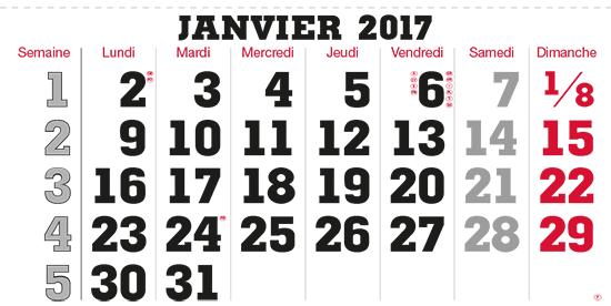 terminic Mehrmonatskalender Super Frankreich Januar 2015