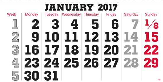 terminic Mehrmonatskalender Super ENGLISCH-UNIVERSAL ohne Feiertage Monat Januar 2015