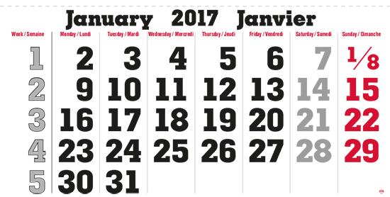 terminic Mehrmonatskalender Super Kanada 2-sprachig (GB-F) Januar 2015