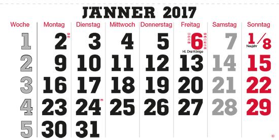 terminic Mehrmonatskalender Super Österreich Januar 2015