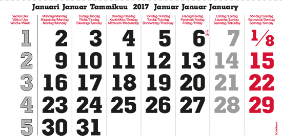 terminic Mehrmonatskalender Super Skandinavien Januar 2015