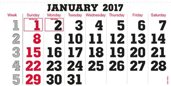 terminic Mehrmonatskalender Super-Südafrika Januar 2015