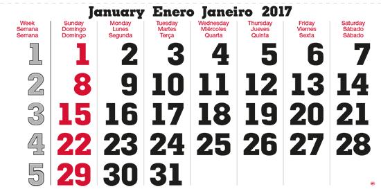 terminic Mehrmonatskalender Super Südamerika Brasilien Januar 2015