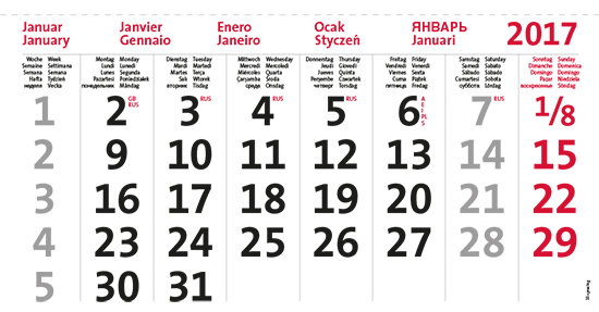 terminic Mehrmonatskalender Super 10-sprachig Januar 2015