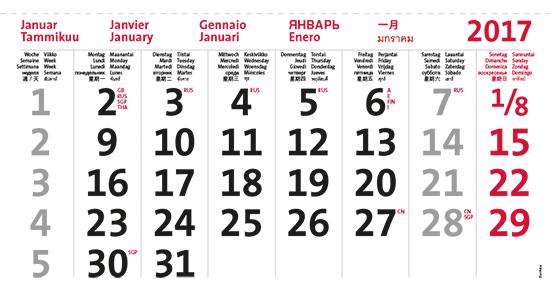 terminic Mehrmonatskalender Super Eurasia Januar 2015