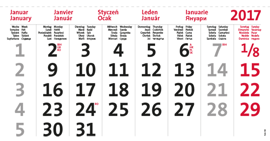 terminic Mehrmonatskalender Super EURO-OST 10-sprachig Monat Januar 2015