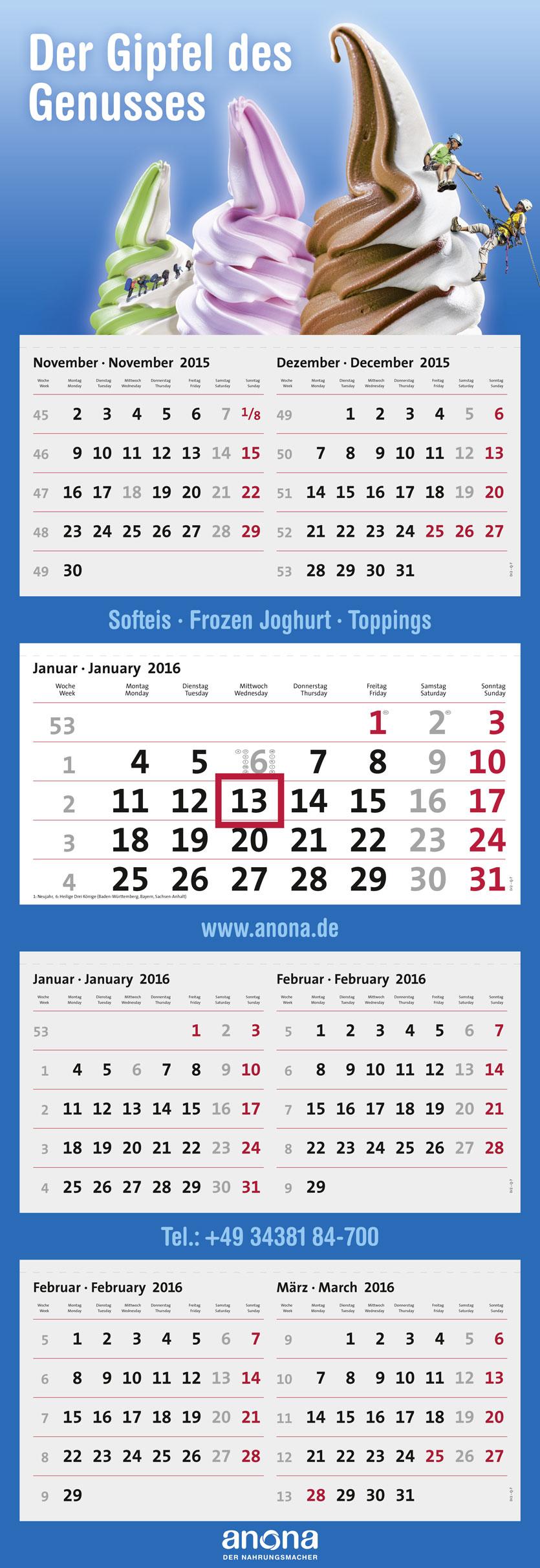 terminic 7-Monatskalender mit Sinalco und imbach Beispielmotive