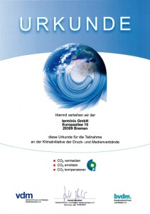 Urkunde-CO2 terminic Klimainitiative