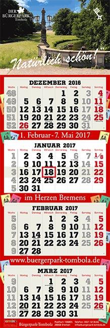 4-Monatskalender super 2 Quadro Buergerpark-Tombola 2017