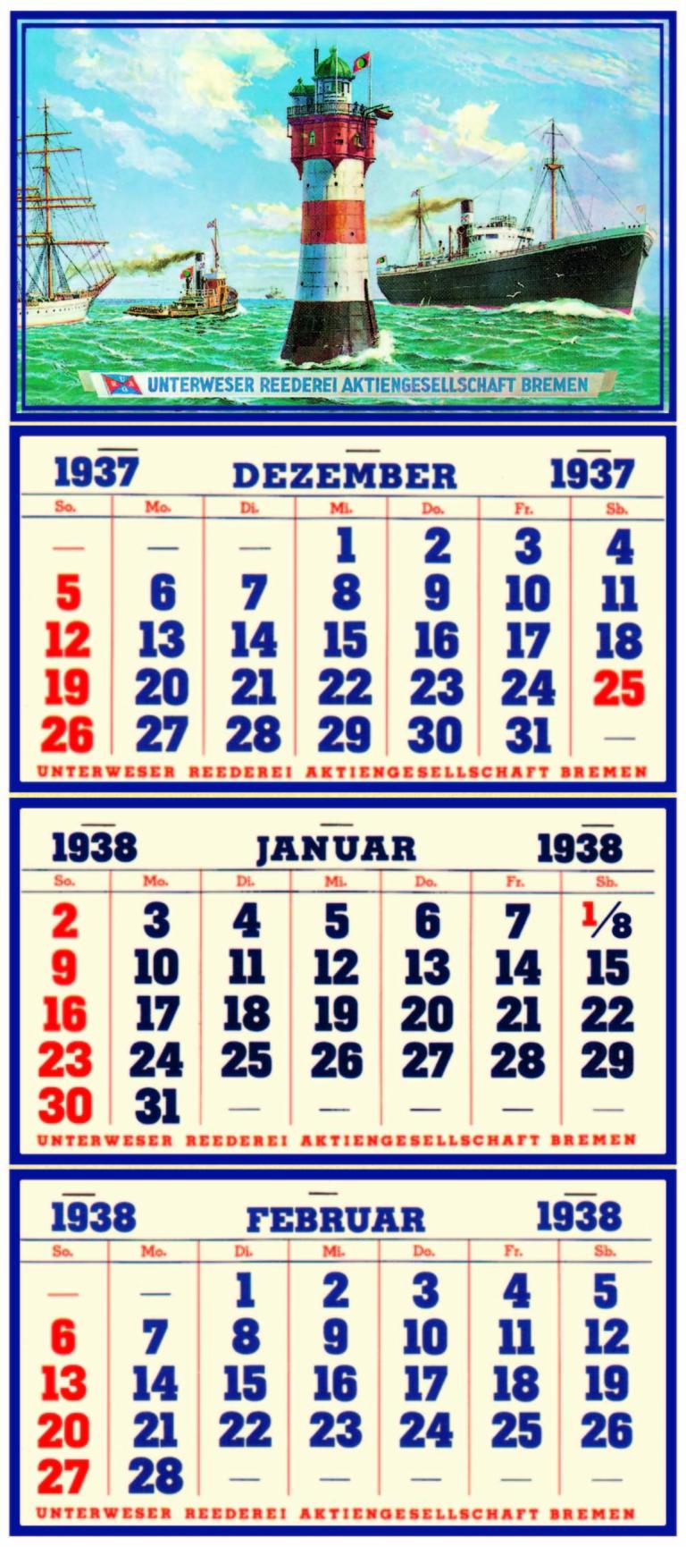 der weltweit erste 3-Monatskalender von 1938