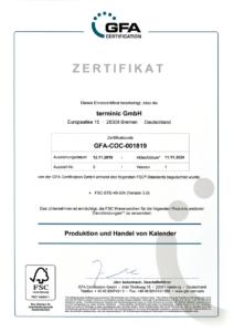 Urkunde der FSC® - Zertifizierung von terminic