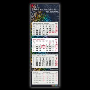 5-Monatskalender bedrucken lassen, das Modell Super 1 HiFive von terminic mit 4 Kalenderblöcken und dunkler Rückwand im Mandala Design
