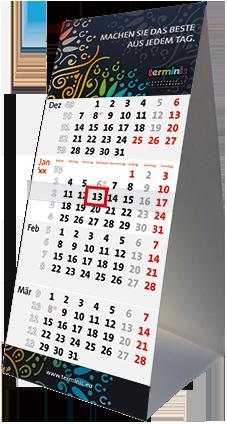 Tischkalender drucken - Der Tischplaner Quadro von terminic im bunten Mandala Design aus stabilem Karton in der 4-Monatsansicht