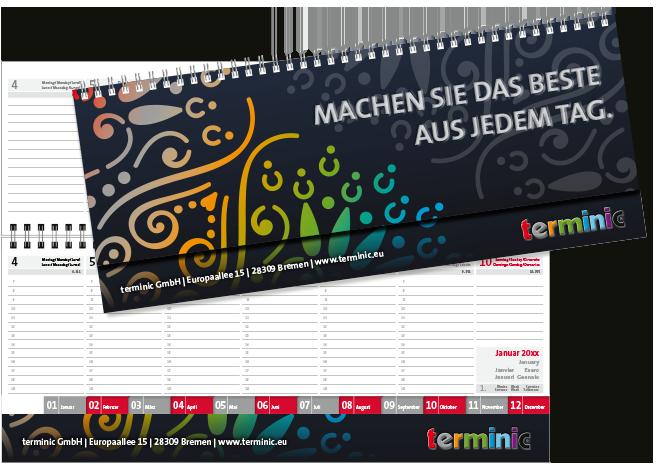 Tischkalender gestalten - Der Tischquerkalender MEGA von terminic, offen und mit Umschlag im bunten Mandala Design